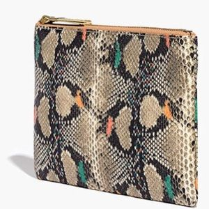 Madewell Medium Leather Pouch Clutch: Snake Emboss